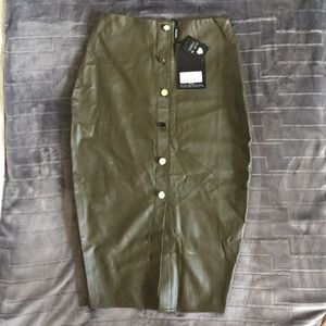 Missguided Army Green Pleather Skirt